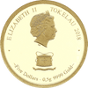 0.5g Pure Gold Year of the Dog Tokelau Coin Obverse