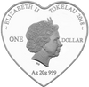 Love Birds Heart-shaped Tokelau Silver Coin Obverse 2018