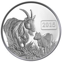 2015 Year of the Goat - Goat Family 1oz Silver Proof Tokelau Coin - Reverse