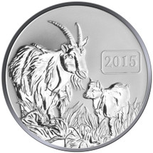 2015 Year of the Goat - Goat Family 1oz Silver Reverse Proof Tokelau Coin - Reverse