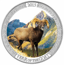 2015 Year of the Goat - Mountain Goat 1oz Silver Coloured Proof Tokelau Coin - Reverse