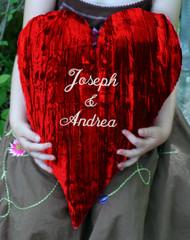 """Customized 18"""" Crushed Velvet Heart Shaped Pillow"""
