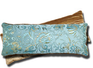 Blue Lagoon - Eye Pillow - Yoga / Therapy - Dual Sided Satin Brocade & Crushed Velvet