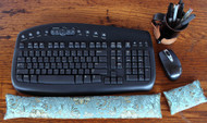 Blue Lagoon & Patena Gold - Ergonomic Keyboard Wrist Rest & Mouse Pad - Dual Sided Satin Brocade & Crushed Velvet