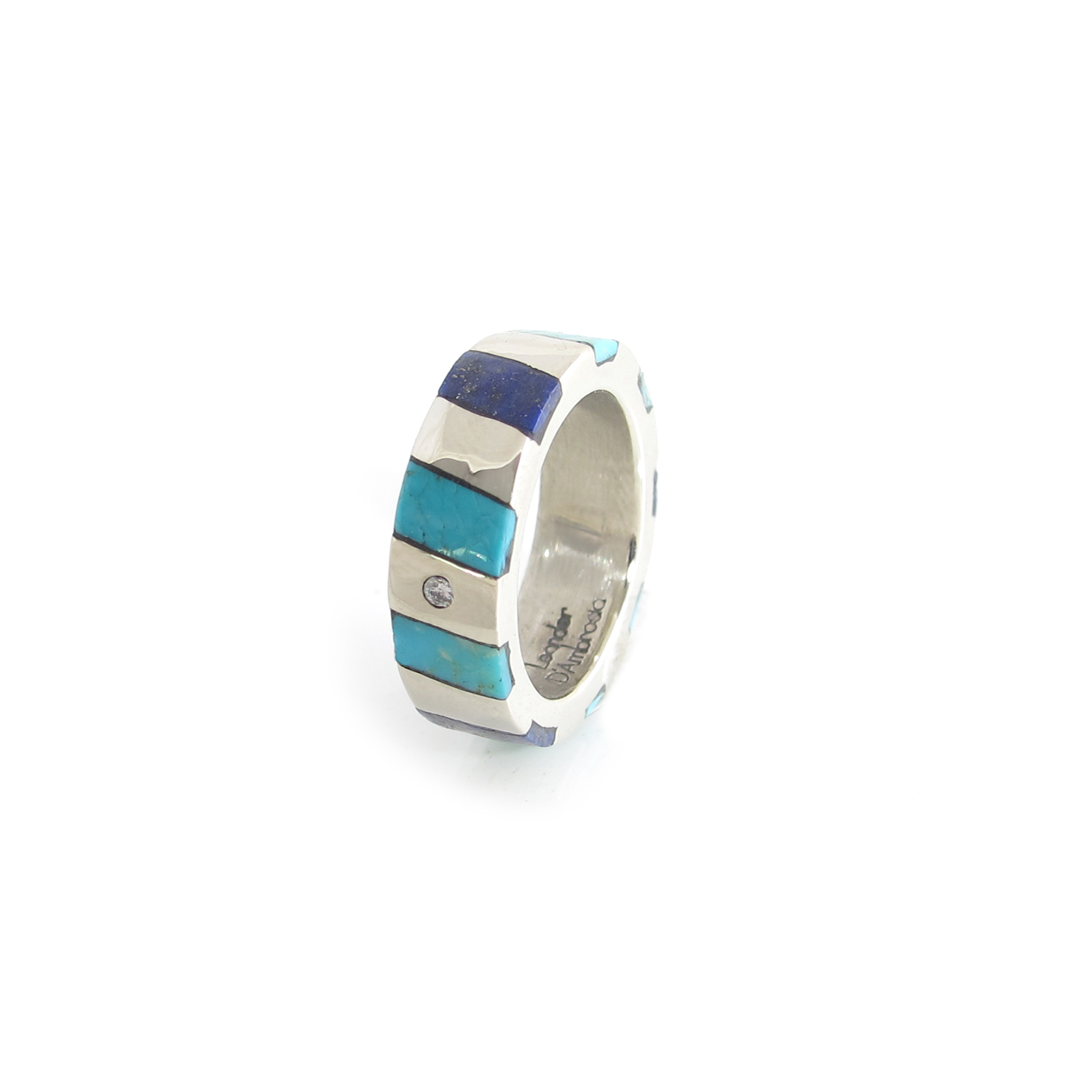 Striped Inlay Ring with Flush Set Diamond