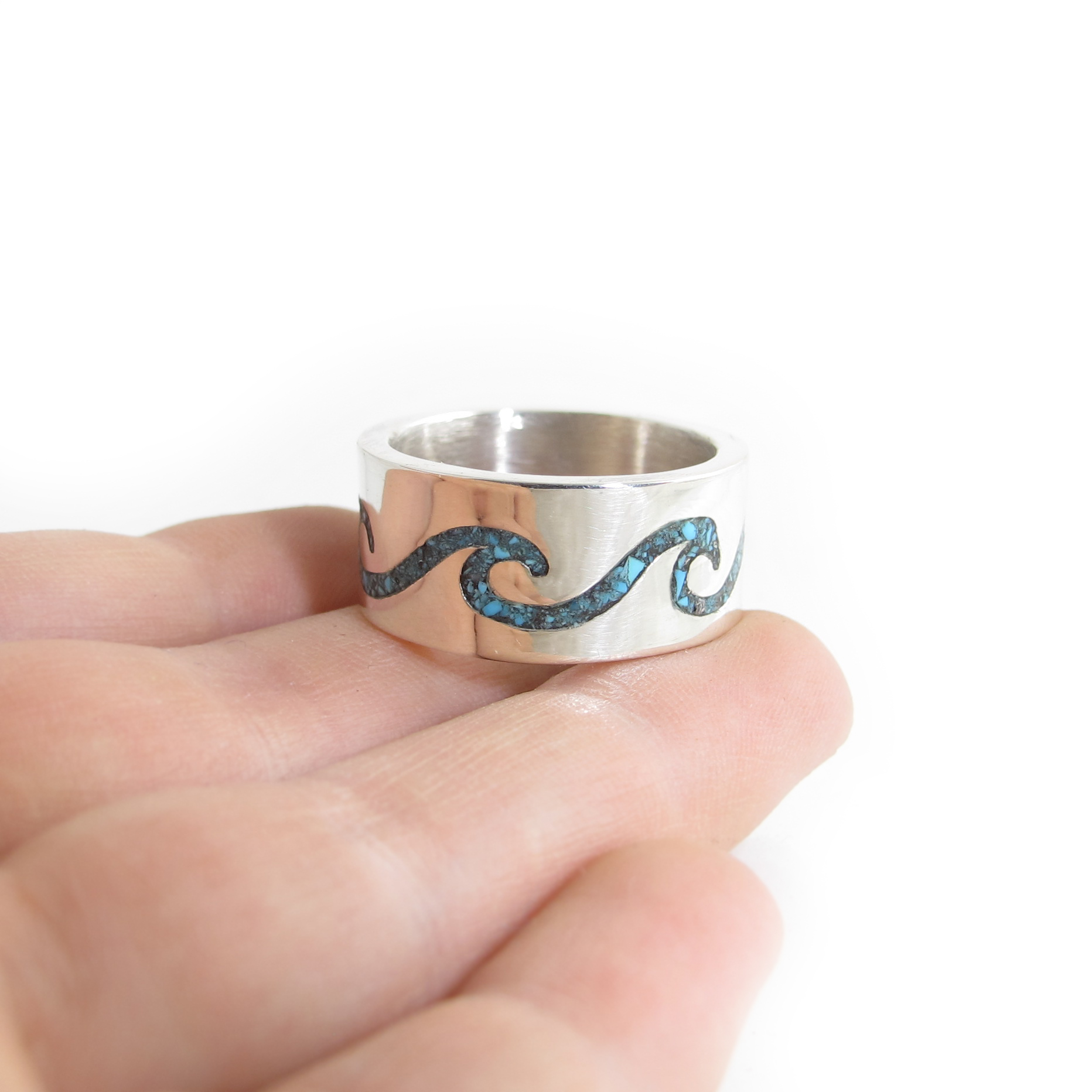 Infinity Wave Ring with Turquoise Chip Inlay