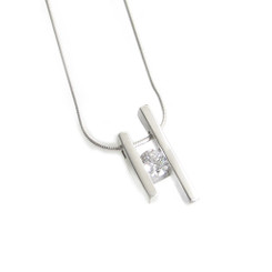 CZ cubic zirconia sterling silver channel set pendant