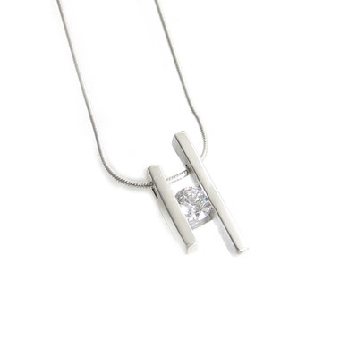 CZ cubic zirconia sterling silver channel set pendant
