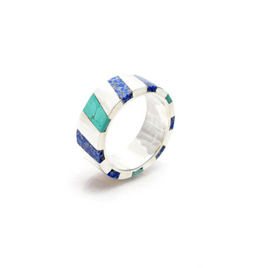wide striped inlay ring in sterling silver with turquoise and lapis lazuli