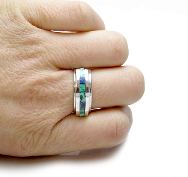 southwest inlay ring in sterling silver