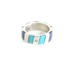 Stripe Inlay Ring with Flush set Gemstone