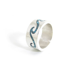 sleeping beauty turquoise chip inlay waves ring