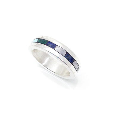 meteorite, turquoise, lapis and malachite inlay infinity ring