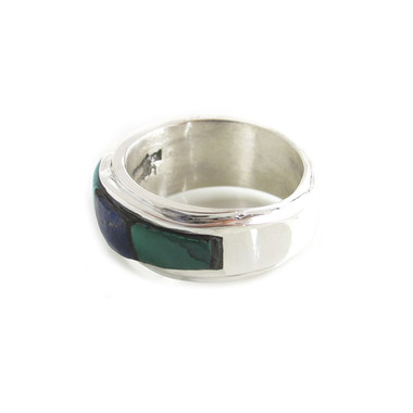 chunky mens inlay ring