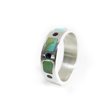 turquoise sapphire flush set ring
