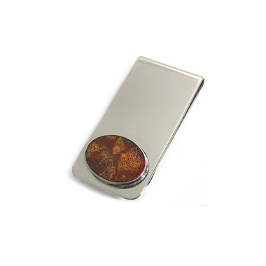 Red Sponge Coral Oval Inlay Money Clip