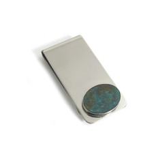 Chrysocolla Oval Inlay Money Clip