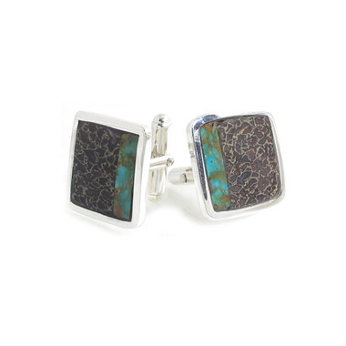 Dinosaur Bone and turquoise inlay cufflinks