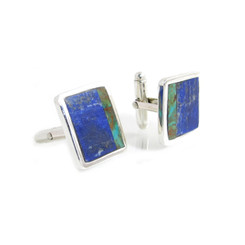 Lapis Lazuli and Turquoise Square Inlay Cufflinks