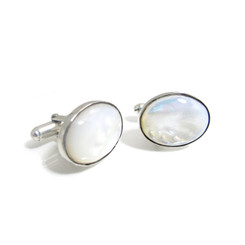 mother of pearl oval cabochon cufflinks