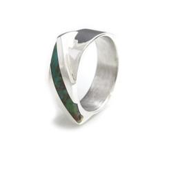 modern inlay ring women white gold