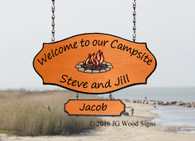Personalized RV Sign Colored Campfire Graphic - Custom Campsite Sign - Family Name with Sign Holder Option RV Camping Sign