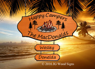 RV Name Sign Colored Campfire Pine Graphic - Happy Camper Sign - Family Name Custom Wood Sign with Camping Sign Holder option JG Wood Signs Carved Camper Sign