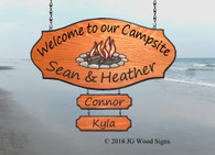 Campsite Name sign - Colored Campfire Graphic -Personalized Wood Camp Sign - Family Name Custom Camping Sign with Sign Holder option