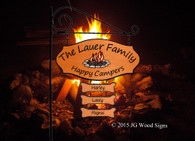 Happy Camper Family Camping Sign - Custom Wood Sign- Colored Campfire Graphic with sign holder option JG Wood Signs RV Campsite Sign