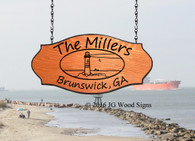 Beach Lake Cottage Carved Sign - Custom Wood Sign - Lighthouse Oval with Sign Holder Option - JGWoodSigns Outdoor Wood Sign