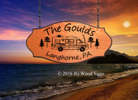 Custom Camping Sign - RV w/ Pine Trees - Campsite Name Sign with Sign Holder Option - JG Wood Signs Personalized RV Signs