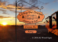 RV Personalized Camping Sign Travel Trailer 2 Dr with 2 Add ons - Family Name Sign with Sign Holder Option Custom Carved Wood JG Wood Signs Etsy Motorhome