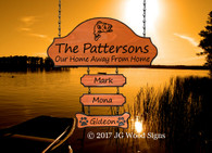 Bass Graphic Name Sign - RV Camping Sign 3 add on signs - Includes optional RV Sign Holder - JG Wood Signs Carved Wood Signs for Camping