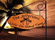 3 Palm Graphic - Livin' on Island Time -  Extra Wide Custom Carved Sign - Family Name with XL Sign Holder Option