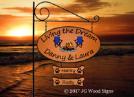 RV Camper Sign - Large Oval Personalized Family Name Sign with 1 add on - Adirondack Chair Sunset Graphic - Custom Carved Wooden Camp Sign with Sign Holder option - JGWoodSigns  Custom RV Sign