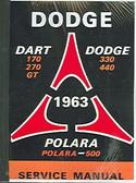 1963 63 DODGE DART/330/440 SERIES SHOP MANUAL