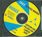 1962 DODGE DART/880/POLARA SHOP/BODY MANUAL ON CD