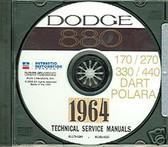 1964 DODGE DART/880/POLARA SHOP/BODY MANUAL ON CD