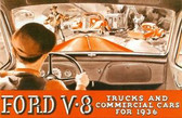1936 FORD V-8 TRUCKS & COMMERICAL CARS SALES BROCHURE-80 HP