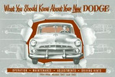 1951 1952 DODGE PASSENGER CAR OWNER'S MANUAL