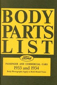 1933 1934 FORD MODEL A BODY PARTS LIST-COVERS PASSENGER & COMMERCIAL CARS
