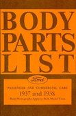 1937 1938 FORD MODEL A BODY PARTS LIST-COVERS PASSENGER & COMMERCIAL CARS