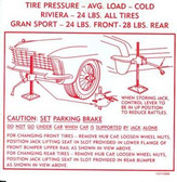 1965 BUICK RIVIERA GS JACK INSTRUCTION DECAL