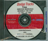 1966 DODGE TRUCK SHOP/BODY MANUAL ON CD