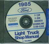 85 FORD TRUCK SHOP REPAIR MANUAL ON CD-F-150 F-350 BRONCO ECONOLINE, E-100/ 350