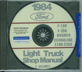 84 FORD TRUCK SHOP REPAIR MANUAL ON CD-F-150 F-350 BRONCO ECONOLINE, E-100/ 350