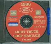 86 FORD TRUCK SHOP REPAIR MANUAL ON CD-F-150 F-350 BRONCO ECONOLINE, E-100/ 350