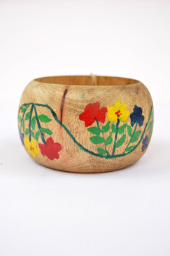 Floral Wave Wooden Bangle