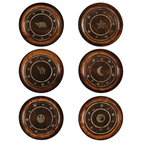 Mango Wood Round Plate Incense Holder