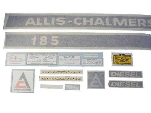 Allis Chalmers 185 Diesel (cream on black) VINYL CUT DECAL SET - DJS164